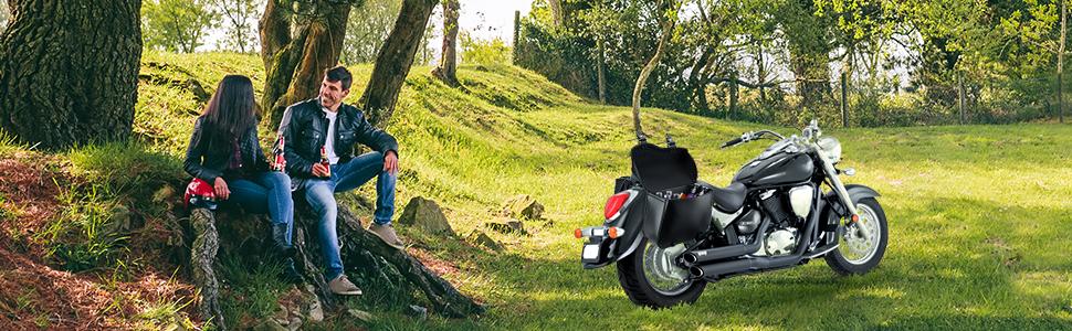 Motorcycle Universal Leather PU Waterproof Large Capacity Saddlebags