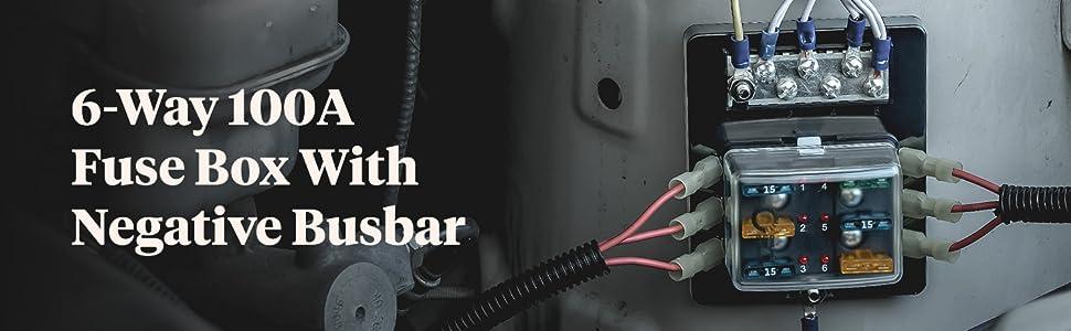[QMVU_8575]  Amazon.com: 6 Way Blade Fuse Box with Ground Negative Bus bar for  Automotive [ATC/ATO Blade Fuses] [100 Amp] [LED] [Protection Cover] [12V -  30V DC] Auto Marine Ground Fuse Block: Automotive | Inline Engine Fuse Box |  | Amazon.com