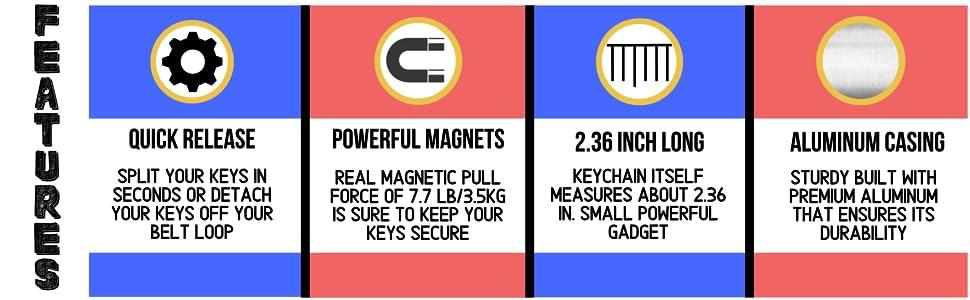 Detachable keychain powerful magnets