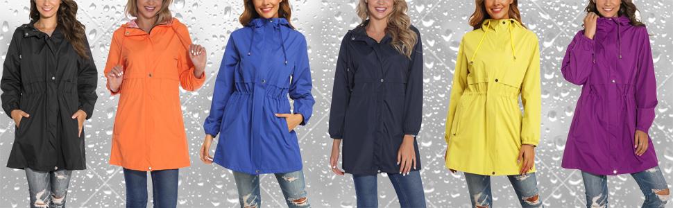 Women Waterproof Hooded Raincoat  Active Outdoor Windbreaker Trench Coat 3