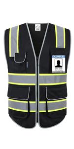 8 pockets black vest - neon yellow trim