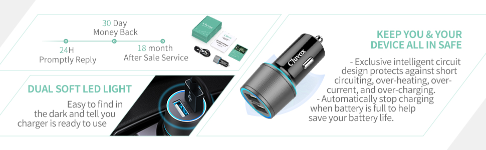 rapid iphone xr car charger with LED light