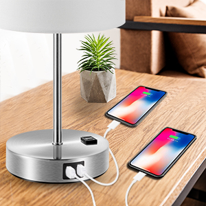 usb lamp with usb ports and power outlet usb dimmable lamp usb bedside lamp usb touch lamp bedside