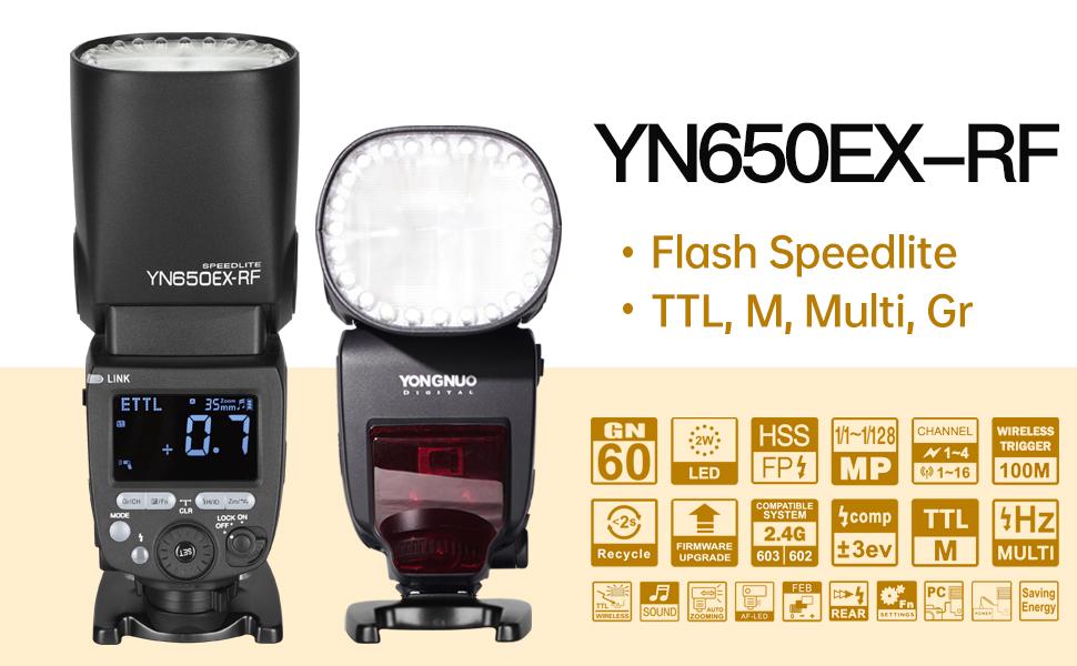 Yongnuo YN650EX-RF Wireless Flash Speedlite GN60 24pcs LED lamp ...