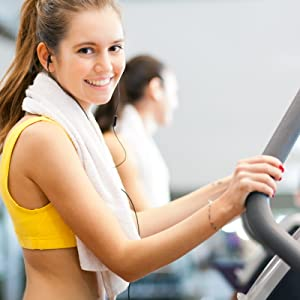 Happy Young Woman on Treadmill with USANUTRA Glucosamine