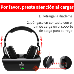 Artiste ADH300 - Auriculares inalámbricos para TV, 2,4 GHz, estéreo, recargables, color negro: Amazon.es: Electrónica