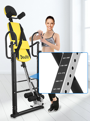 Doufit Inversion Table for Back Pain Relief IT-03 Foldable Heavy Duty Inverted Back Stretch Machine for Storage Adjustable Inversion Gravity Table for Home Exercise with Shoulder Holders Safe Belt