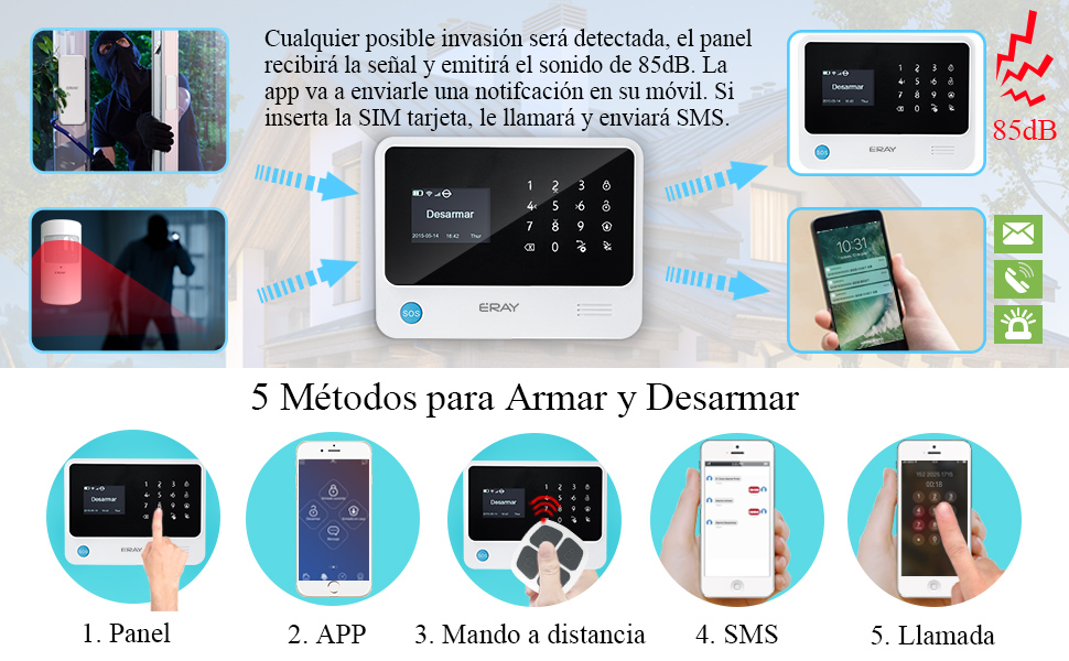 ERAY S2 Alarmas para Casa WiFi+gsm/ 3G+GPRS, Antirrobo, Inalámbrico, Función de Timbre, App Gratuita, 100 Zonas, Multi-Accesorios y Pilas Incluidas, ...