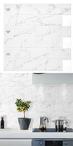3D Peel and Stick Tile Backsplash Subway Marble Tile Sticker Self-Adhesive Wallpaper