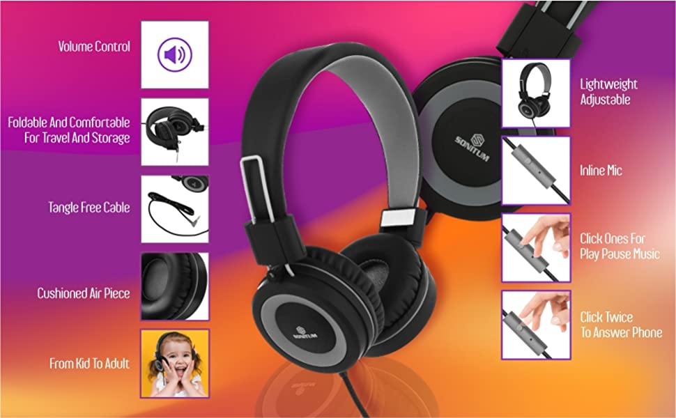 Headphones with microphone for computers laptops tablets phones headphones for kids with mic