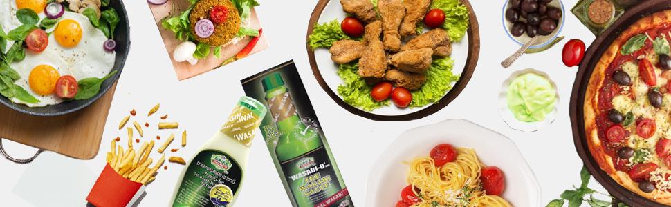 Wasabi, Mayonaise, Fruit Salad,Sale,Discount,Steak,Burger,Salad,nuggets,Chicken,Snack,Salad Dressing