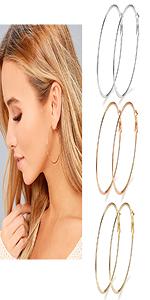 Stainless Steel Round Hoop Earrings