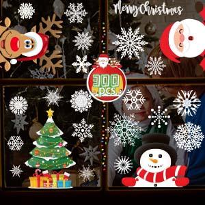 300PCS CHRISTMAS WINDOW STICKERS