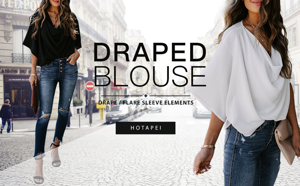 HOTAPEI Womens Blouses and Tops for Work Fashion 2020 Casual Summer Short Sleeve Wrap V Neck Draped Front Blouses