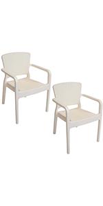 set of 2 cream patio chairs