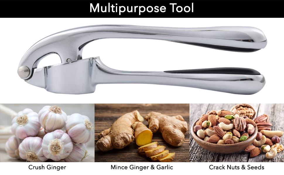 Garlic press crusher tool for chefs
