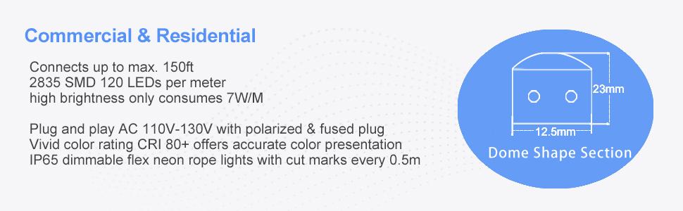 Shine Decor 6500K Cool White LED Neon Rope Light