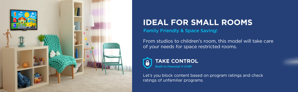 Small space TV lightweight compact kid friendly
