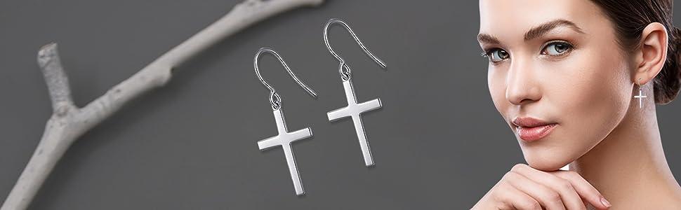 LeCalla Sterling Silver Jewelry Cross Shaped Drop Dangler Earrings for Women Girl