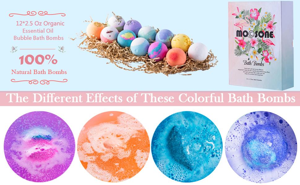 Bath bombs gift set for women kids essential oils