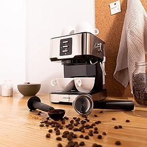 IKOHS Cafetera Express Barismatic - Cafetera Automática Espress para Espresso y Cappuccino, 20 Bares, 850 W, 1,5 litros, Vaporizador Orientable, Doble Salida, Regulador de Presión (Gris): Amazon.es: Hogar