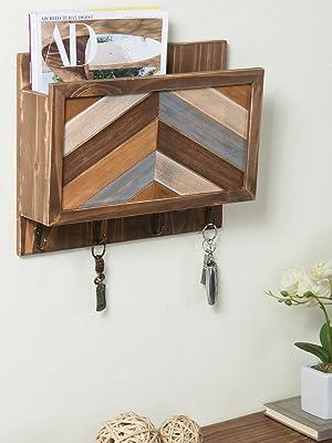 Rustic Chevron Wood Wall Mounted Entryway Organizer with 4 Key Hooks