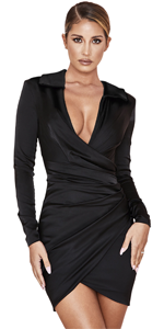 Elegant Ruched Bodycon Mini Dress Satin