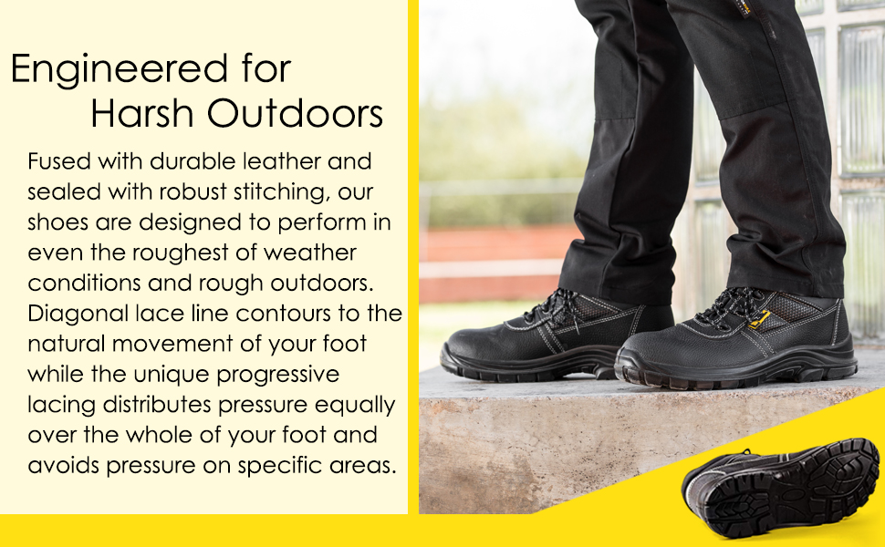 Mens safety shoes with a nonslip and traction sole. Diagonal lace to contour to natural movement.