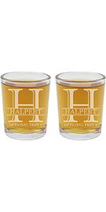 personalized etched shot glasses, set of two with custom monogram and text