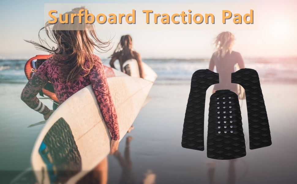 4 Stück Surfboard Traction Pads Wellenreiten Skimboard Surfboard Schwarz