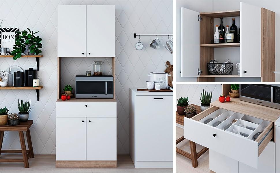 Amazon Com Living Skog Kitchen Storage Cabinets Kitchen Cabinet With Storage Shelves And Microwave Stand Pantry Cabinet Kitchen China Cabinet Kitchen And Pantry Hutch Cabinet Furniture Decor