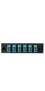 LGX Plate 6 Multimode Duplex LC Connectors, Aqua OM3/4 10Gb