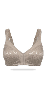 WingsLove Women's Full Coverage Front Closure Minimizer Bra Wirefree Non-Padded Comfort Bra PlusSize