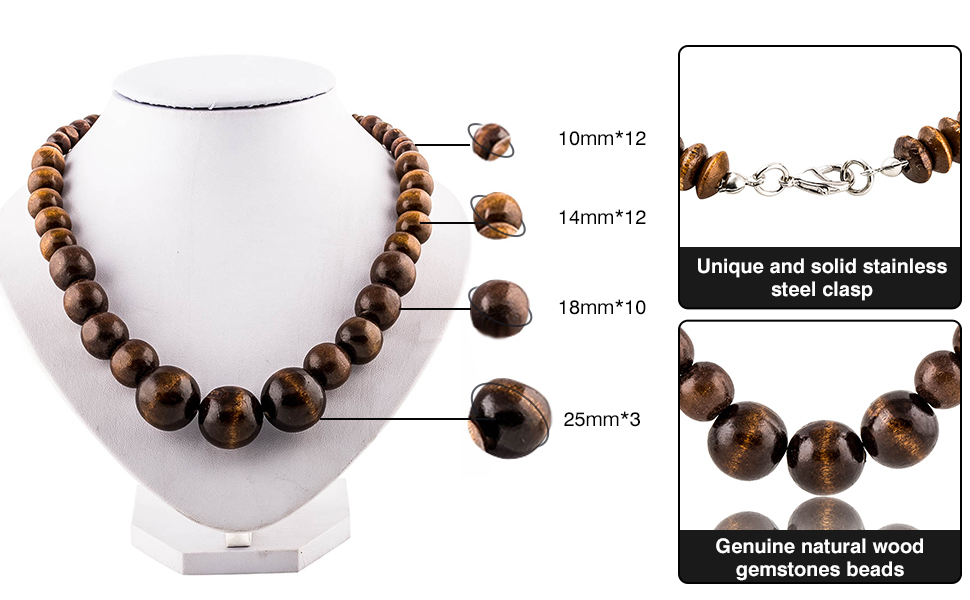 Wood Bead Necklace Africa Wooden Chain Statement Unisex Chunky Necklaces