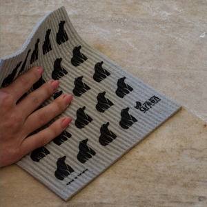 Swedish dishcloth for kitchen grey poplar bear deisgn compostable