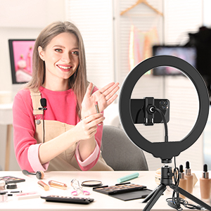 """Ring Light with Stand, GPED 10.2"""" Dimmable LED Desk Makeup Beauty RingLight with Phone Holder for iPhone/Android/YouTube Video/Live Stream/Photography, 3 Light Modes & 10 Brightness Level"""