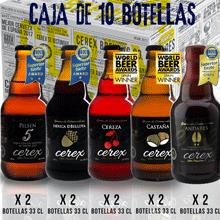 CEREX- Pack Degustación de 5 Cervezas Artesanas Españolas con caja regalo de presentación en madera – Cerveza de Cereza, Castaña, Ibérica de Bellota, Pilsen y Andares: Amazon.es: Alimentación y bebidas