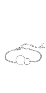 Sterling Silver Jewelry Gift Two Interlocking Infinity Double Circles Friendship bracelet
