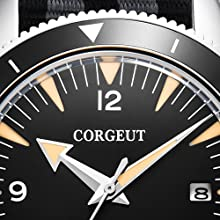 Corgeut Men Watch Japan Automatic Sport Digital Sapphire Luminous Waterproof Strap Quartz Clock Blk