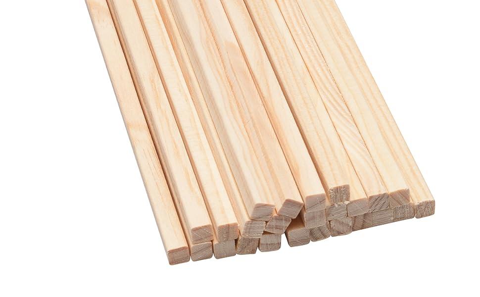 25 Palos Cuadrados de Madera 25 cm x 8 mm: Amazon.es: Hogar