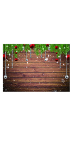 6x4FT Photography Background Merry Christmas Backdrop Vintage Cottage Snow Covered Forest Elk Reindeer Deer Forest Window Balls Pine Fir Needle Happy New Year Photo Portrait Vinyl Studio Prop