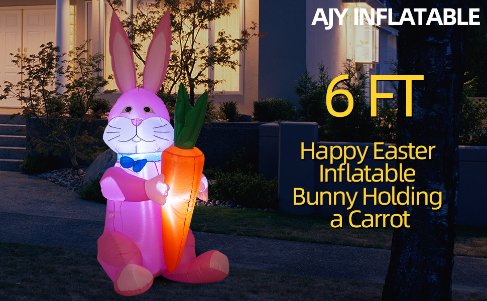 6 FT Happy Easter Bunny Holding a Carrot Inflatable B08NSPWM6V