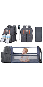 Diaper Bag Backpack with Changing Station Bassinet Diaper Changing Bed Travel Foldable Baby Bed