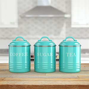 lifestyle photo for Kitchen Canisters with Lids Turquoise Metal