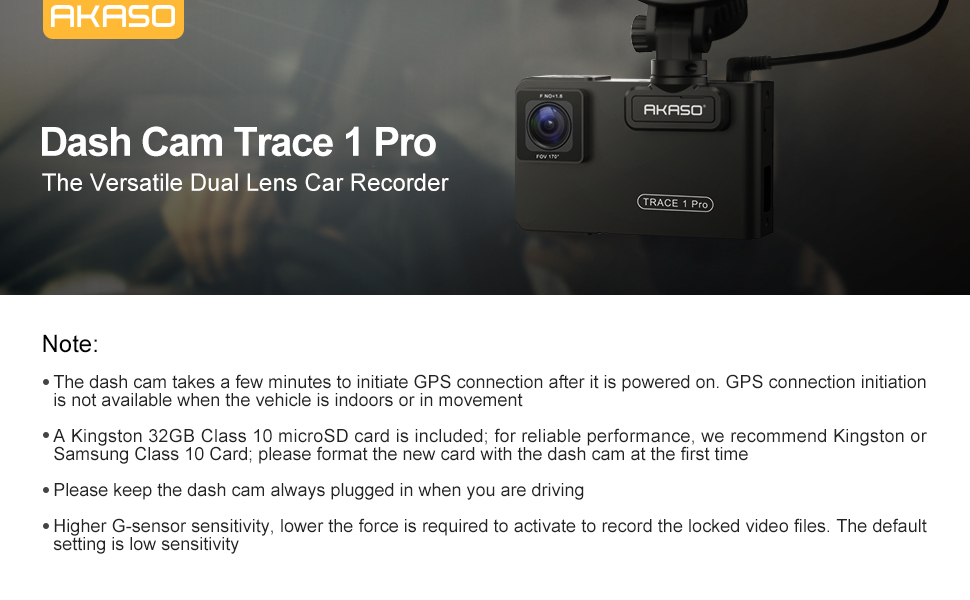 Trace1 Pro Dual Lens Car Dash Camera AKASO 2K Dash Cam WiFi with Phone App External GPS Front and Inside Lens with Sony STARVIS Dual Record 1080p30 340/° Coverage Included 32GB Card Fatigue Reminder