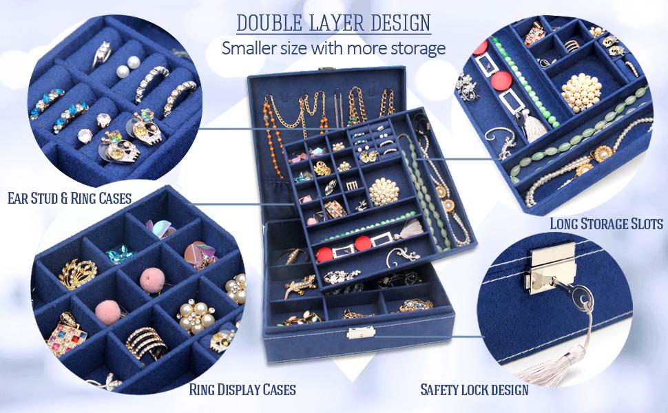 KLOUD City Two-Layer lint Jewelry Box Organizer Display Storage case with Lock (Deep Blue)