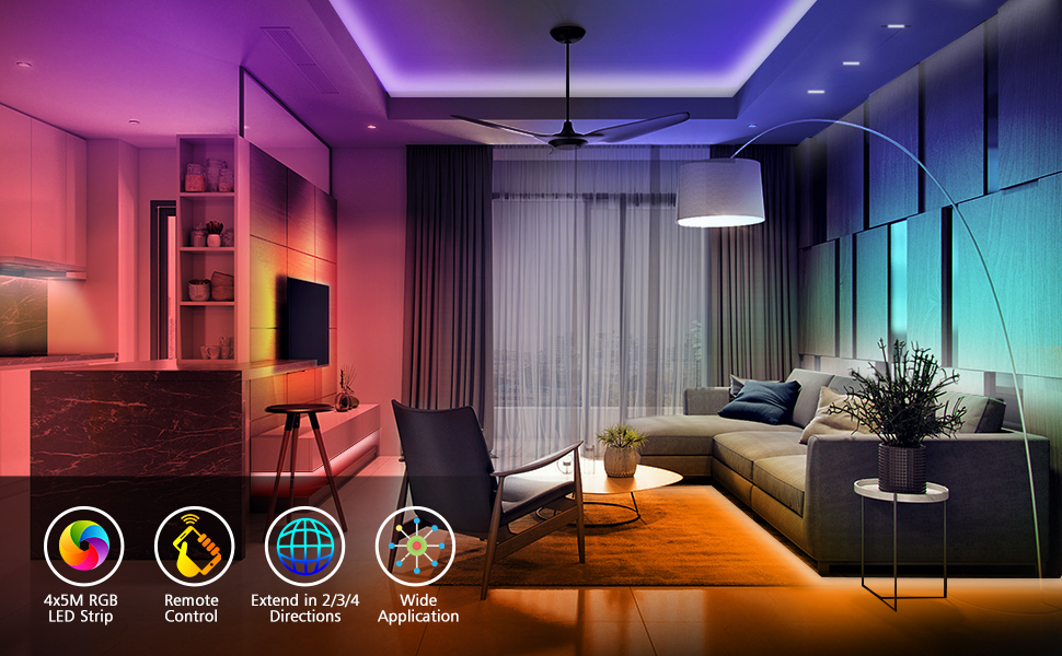 4x5M RGB LED STRIP/ REMOTE CONTROL/EXTEND IN 2/3/4 DIRECTIONS/ WIDE APPLICATION FOR TV/DOWNSTAIR