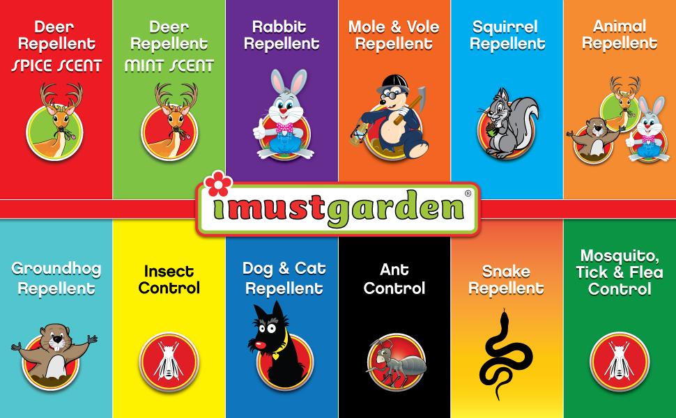 imustgarden natural repellent deer rabbit squirrel mole dog groundhog snake control natural