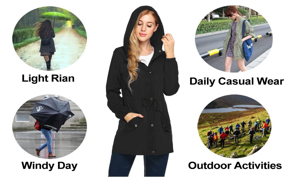 Women waterproof rain jacket