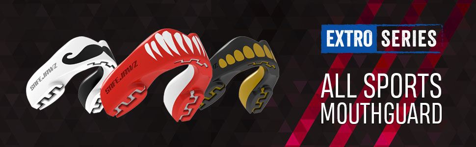 Extro Series All Sports Mouthguard red fangz black white mustache design mouthguard slim fit teeth